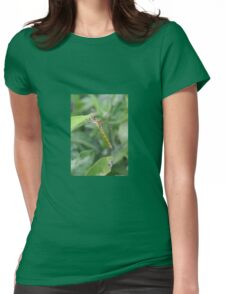 Green and Brown Dragonfly Holding On To Oleander Womens Fitted T-Shirt