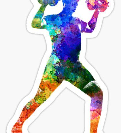 Man exercising weight training Sticker