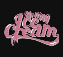 Melting Ice Cream Typography Font Pink Cute One Piece - Long Sleeve