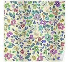 Vintage pink blue green floral pattern Poster