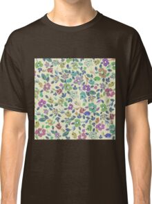 Vintage pink blue green floral pattern Classic T-Shirt