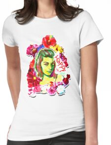Beautiful Flower hippy girl Womens Fitted T-Shirt