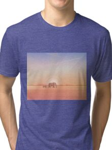 Elephants journey through desert landscapes of Africa Tri-blend T-Shirt