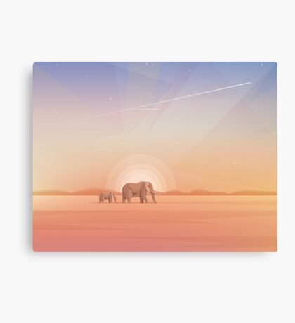 Elephants journey through desert landscapes of Africa Canvas Print