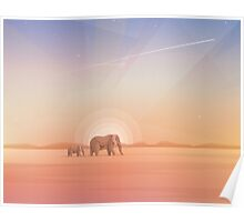 Elephants journey through desert landscapes of Africa Poster