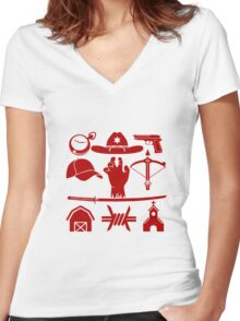 The Walking Dead - Symbols Women's Fitted V-Neck T-Shirt