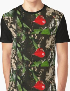 Glossy Scarlet Heart in the Shadows - an Elegant Anthurium Flower Graphic T-Shirt