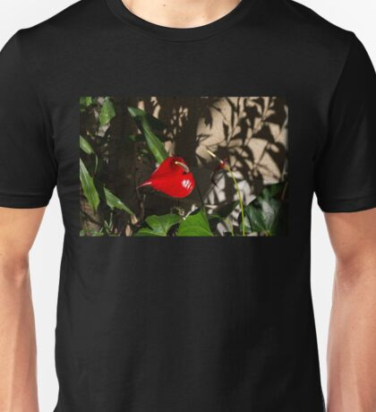 Glossy Scarlet Heart in the Shadows - an Elegant Anthurium Flower Unisex T-Shirt