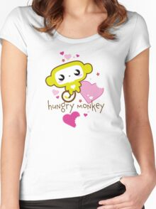Hungry Monkey pink Women's Fitted Scoop T-Shirt
