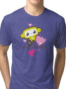 Hungry Monkey pink Tri-blend T-Shirt