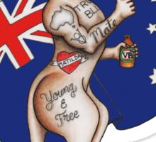 Australia Day Tattoo Kangaroo with Flag Design ! Sticker