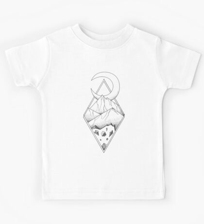 Geometric mountain in a diamonds with moon (tattoo style - black and white) Kids Tee