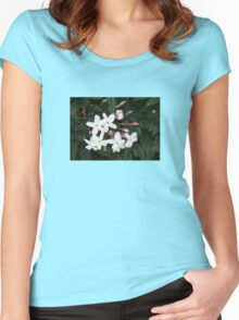 Delicate White Jasmine Blossom with Green Background Women's Fitted Scoop T-Shirt
