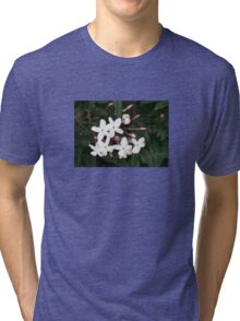 Delicate White Jasmine Blossom with Green Background Tri-blend T-Shirt