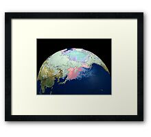 Planet Earth showing snow, sea, ice. Framed Print