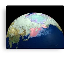 Planet Earth showing snow, sea, ice. Canvas Print
