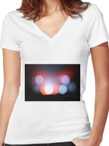 Circle Colour Lights Concert Blur Pattern Women's Fitted V-Neck T-Shirt