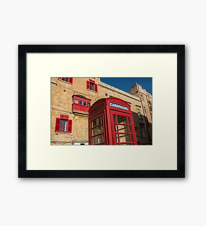 Red telephone cabin in the old town of Vialleta Framed Print