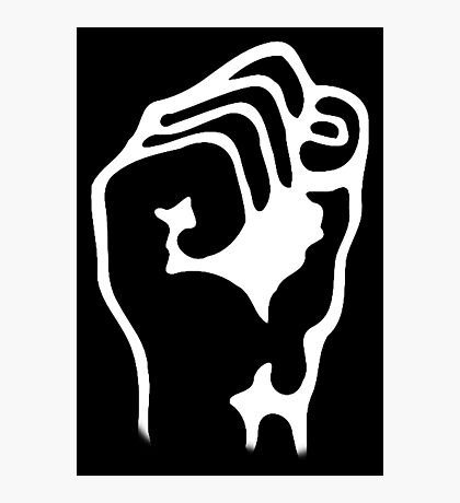 Power to the People, Grip, Fist, Punch, Fight, Strength, Power, Grasp, tough, Karate, Martial Arts, MMA, WHITE Photographic Print