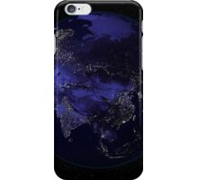 Full Earth at night showing city lights centered on Asia. iPhone Case/Skin