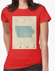 Iowa State Map Blue Vintage Womens Fitted T-Shirt