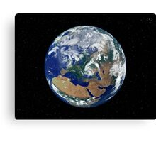 Fully lit Earth centered on Europe. Canvas Print