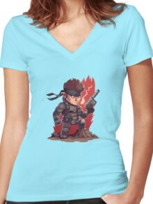 Solid Snake Chibi Women's Fitted V-Neck T-Shirt