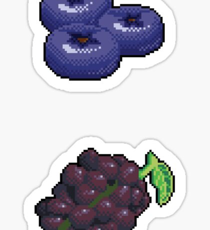 Pixel Blue & Purple fruits sticker set Sticker