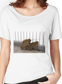 Barbary macaques in Gibraltar Women's Relaxed Fit T-Shirt