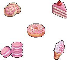 Pixel Pink desserts sticker set by skywaker