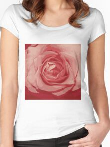 pink rose grunge stile Women's Fitted Scoop T-Shirt