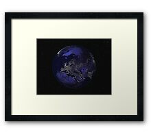 Full Earth at night showing city lights centered on Europe. Framed Print