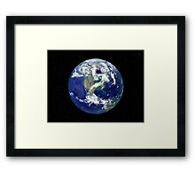 Fully lit Earth centered on North America. Framed Print