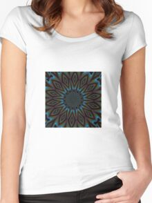 Blue and Brown Floral Abstract Women's Fitted Scoop T-Shirt