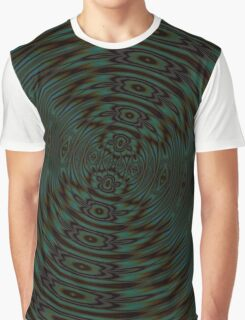 Abstract Teal and Brown Orbit Graphic T-Shirt