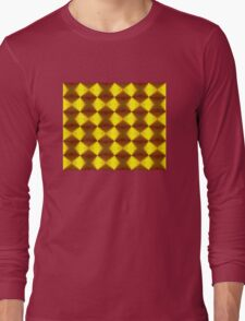 Bold Red, Green and Gold Repeating Pattern Long Sleeve T-Shirt