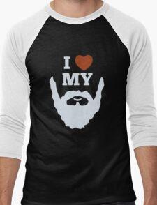 Funny I Heart Love My Beard Men's Baseball ¾ T-Shirt