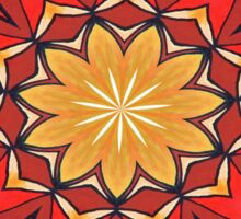 Ochre and Red Abstract Kaleidoscope Sticker