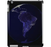 Full Earth at night showing city lights centered on South America. iPad Case/Skin