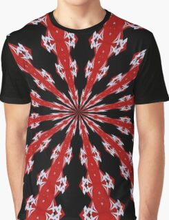 Red Black and White Abstract Graphic T-Shirt