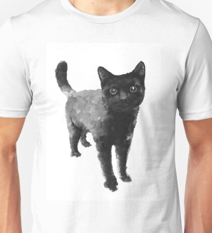 Black cat watercolor painting  Unisex T-Shirt