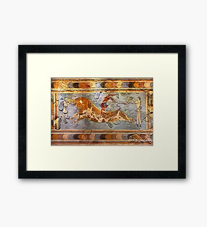 Minoan Times - Dancing with the bulls Framed Print