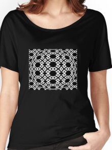 Diamond and Circles Black and White Pattern Women's Relaxed Fit T-Shirt