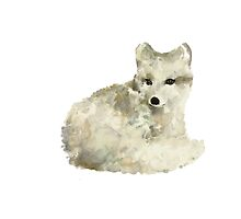 Arctic fox watercolor art print painting by Joanna Szmerdt