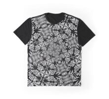 Fallen Leaves Black and White Kaleidoscope Graphic T-Shirt
