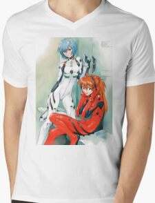 Evangelion - Rei and Asuka Mens V-Neck T-Shirt