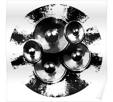 Black and white music speakers Poster