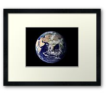 Full Earth showing Europe and Asia. Framed Print