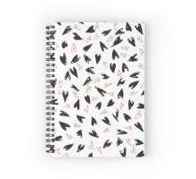 pop art hearts, doodle, cute. black and red Spiral Notebook