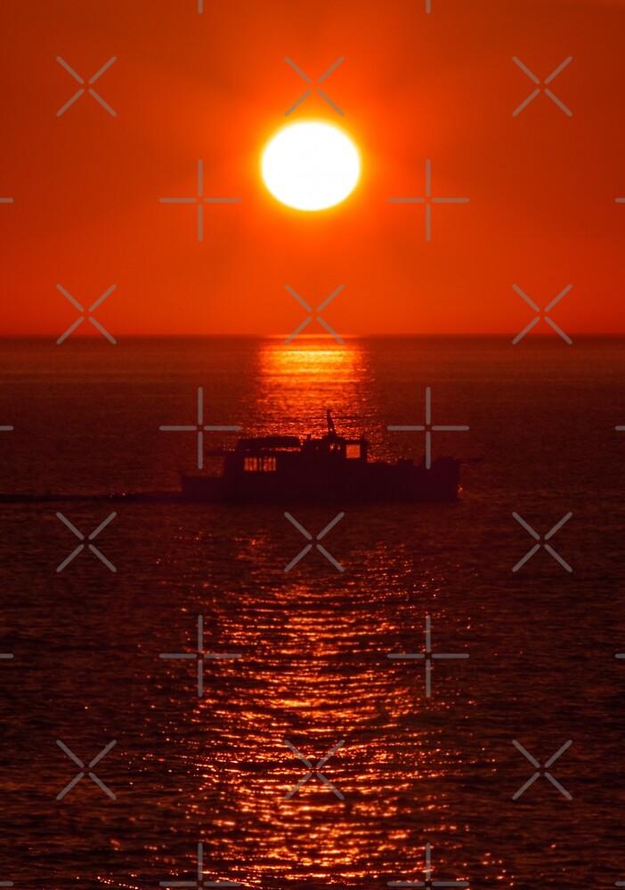 sunset boat by Jim Cumming